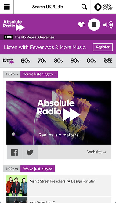 Absolute Radio Player station ID screenshot