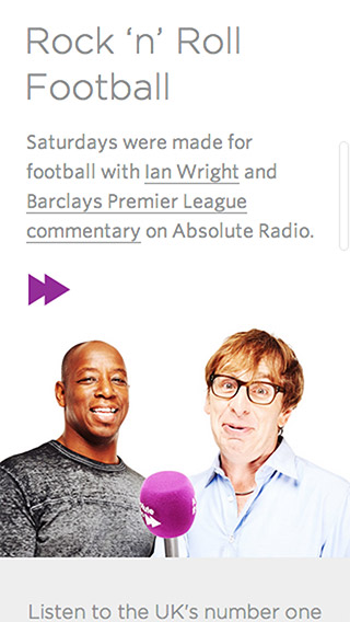 Absolute Radio responsive homepage screenshot