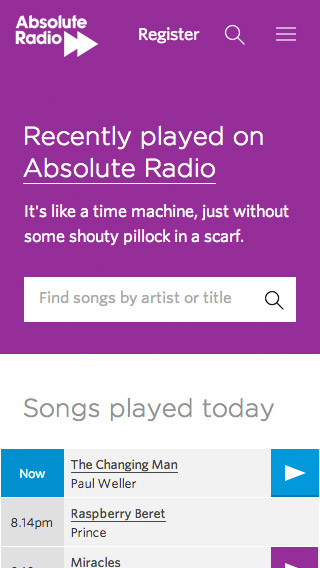 Absolute Radio responsive playlist screenshot