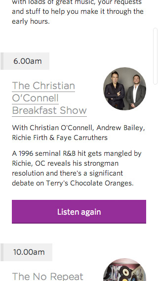 Absolute Radio responsive schedule screenshot