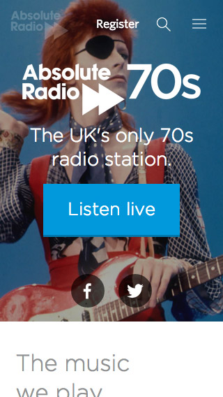 Absolute Radio 70s responsive homepage screenshot