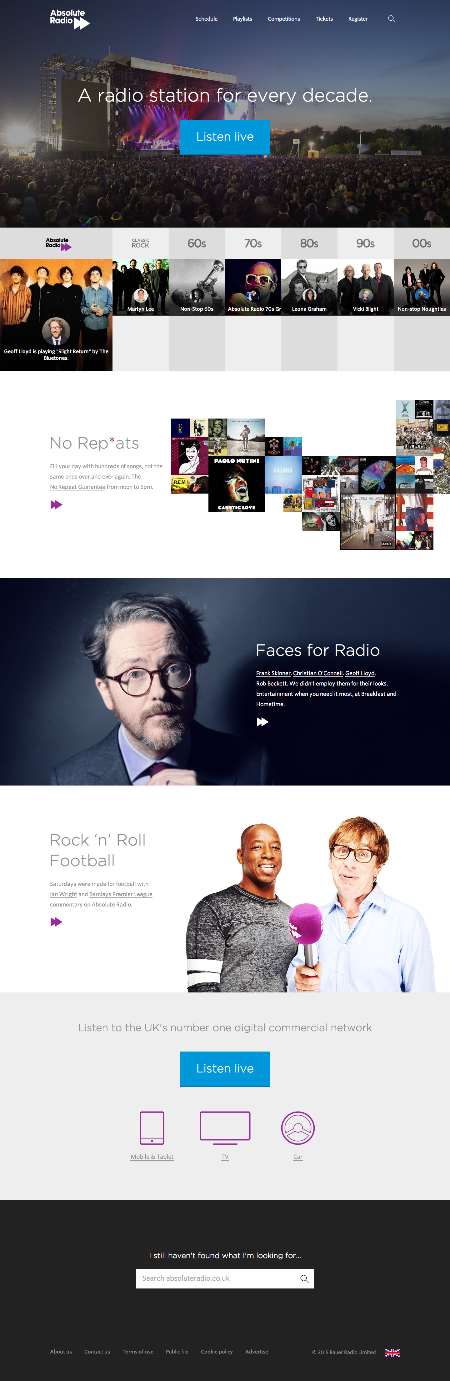 Absolute Radio homepage screenshot