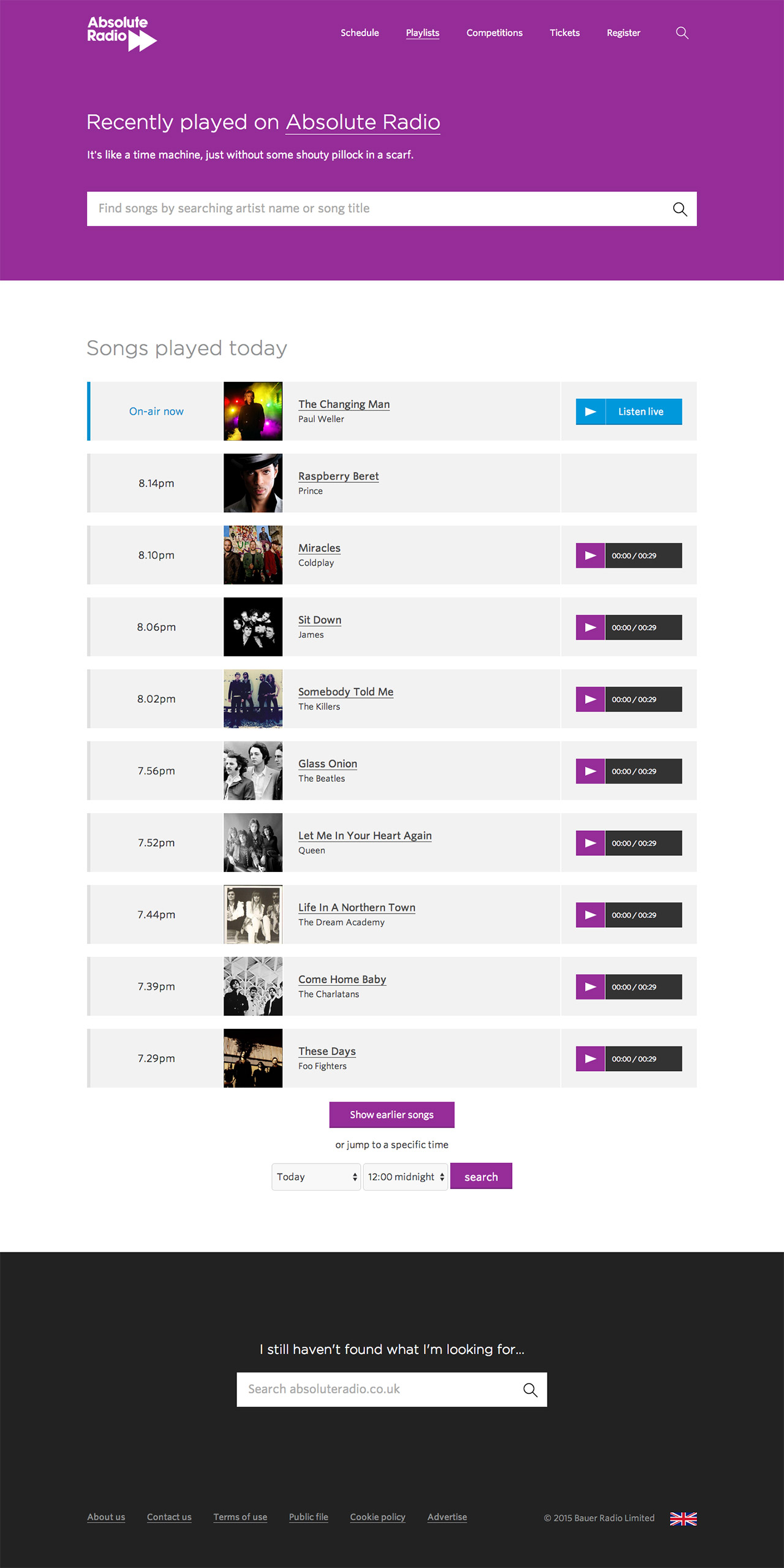 Absolute Radio recently played list screenshot