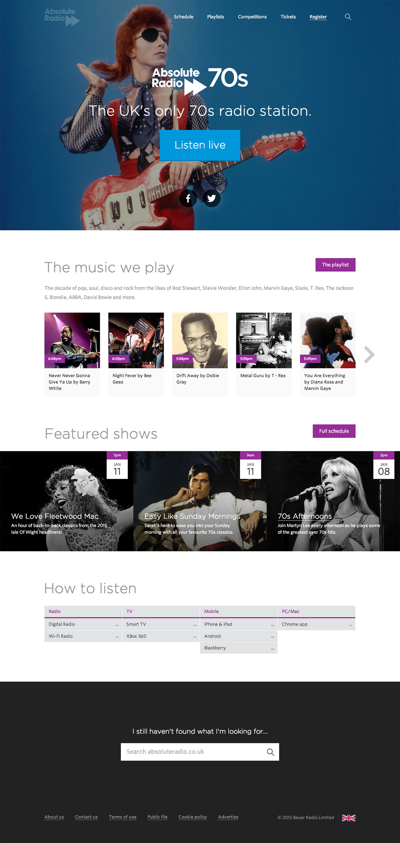 Absolute Radio 70s homepage screenshot