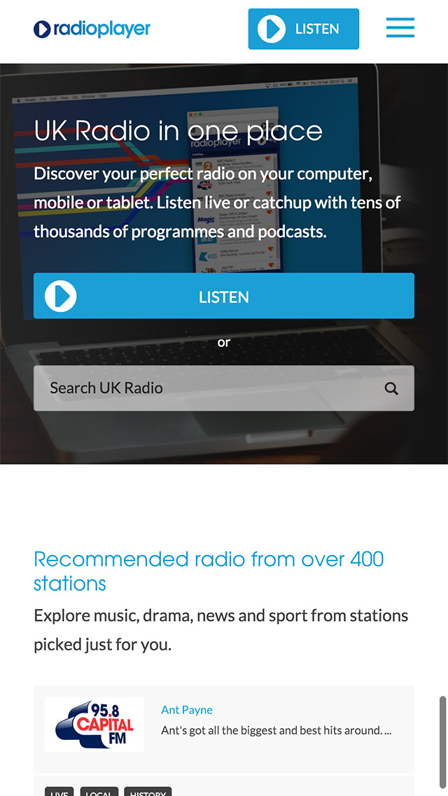 Radioplayer responsive homepage screenshot