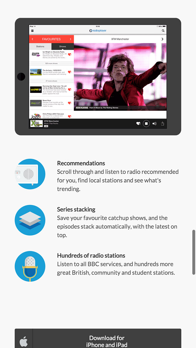 Radioplayer responsive products page screenshot