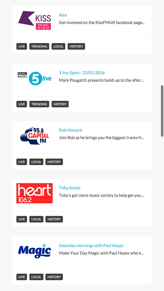 Radioplayer responsive recommended page screenshot